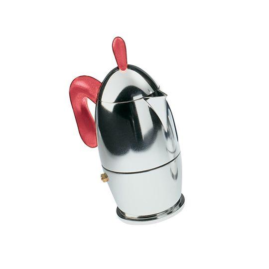 Caffettiera guzzini zaza 3 tazze colore rosso trasparente
